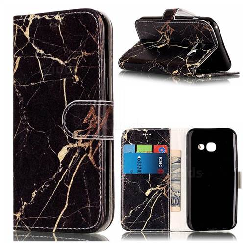 Black Gold Marble PU Leather Wallet Case for Samsung Galaxy A3 2017 A320