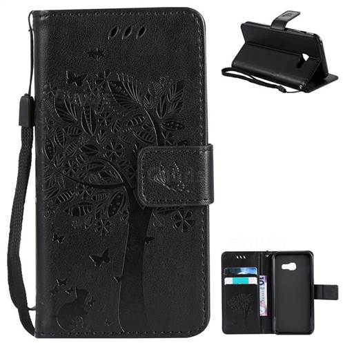 Embossing Butterfly Tree Leather Wallet Case for Samsung Galaxy A3 2017 A320 - Black