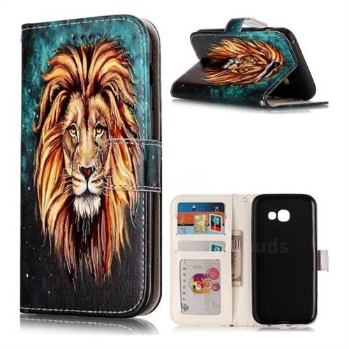 Ice Lion 3D Relief Oil PU Leather Wallet Case for Samsung Galaxy A3 2017 A320