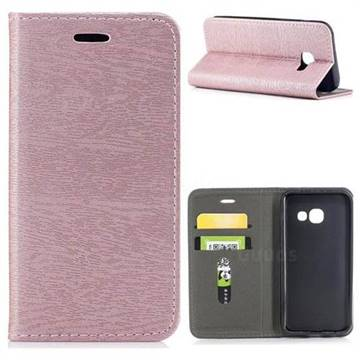 Tree Bark Pattern Automatic suction Leather Wallet Case for Samsung Galaxy A3 2017 A320 - Rose Gold