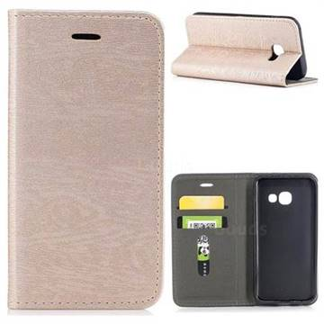 Tree Bark Pattern Automatic suction Leather Wallet Case for Samsung Galaxy A3 2017 A320 - Champagne Gold