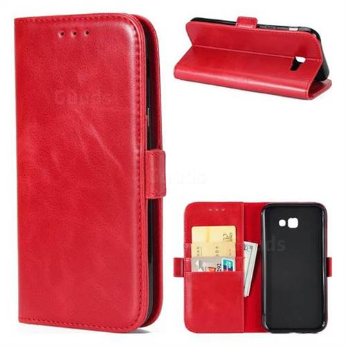 Luxury Crazy Horse PU Leather Wallet Case for Samsung Galaxy A3 2017 A320 - Red