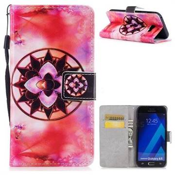 Red Mandala PU Leather Wallet Case for Samsung Galaxy A3 2017 A320