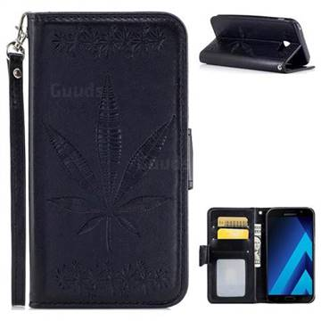 Intricate Embossing Maple Leather Wallet Case for Samsung Galaxy A3 2017 A320 - Black
