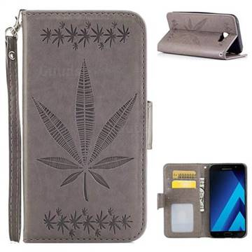 Intricate Embossing Maple Leather Wallet Case for Samsung Galaxy A3 2017 A320 - Gray