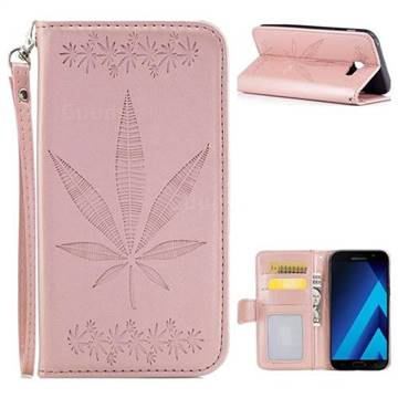 Intricate Embossing Maple Leather Wallet Case for Samsung Galaxy A3 2017 A320 - Rose Gold