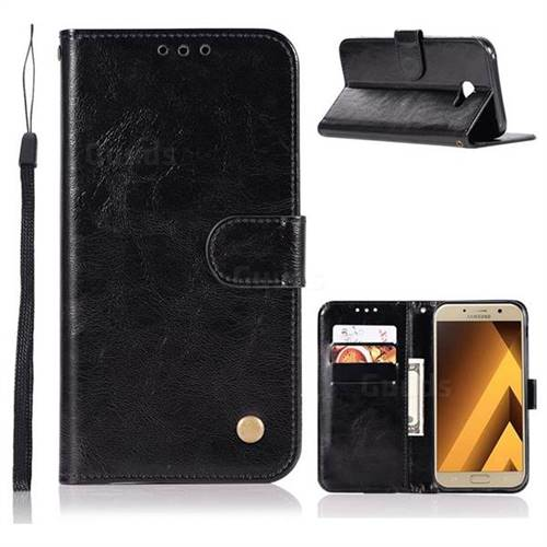 Luxury Retro Leather Wallet Case for Samsung Galaxy A3 2017 A320 - Black