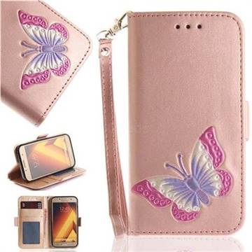 Imprint Embossing Butterfly Leather Wallet Case for Samsung Galaxy A3 2017 A320 - Rose Gold