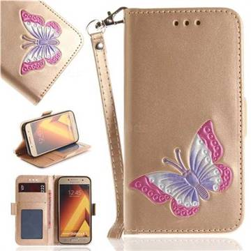 Imprint Embossing Butterfly Leather Wallet Case for Samsung Galaxy A3 2017 A320 - Golden