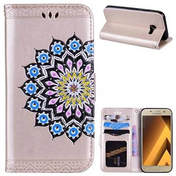 Datura Flowers Flash Powder Leather Wallet Holster Case for Samsung Galaxy A3 2017 A320 - Golden