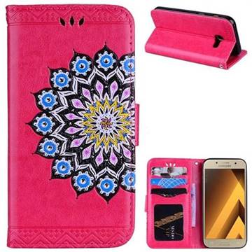 Datura Flowers Flash Powder Leather Wallet Holster Case for Samsung Galaxy A3 2017 A320 - Rose