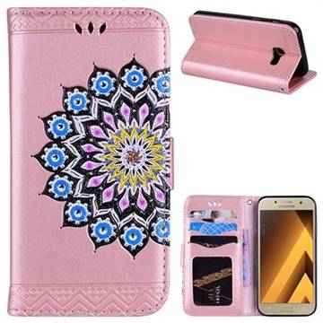 Datura Flowers Flash Powder Leather Wallet Holster Case for Samsung Galaxy A3 2017 A320 - Pink