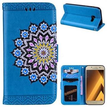 Datura Flowers Flash Powder Leather Wallet Holster Case for Samsung Galaxy A3 2017 A320 - Blue
