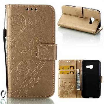 Embossing Butterfly Flower Leather Wallet Case for Samsung Galaxy A3 2017 A320 - Champagne