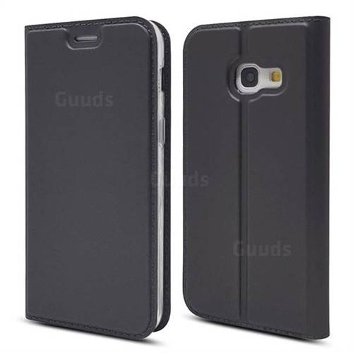 Ultra Slim Card Magnetic Automatic Suction Leather Wallet Case for Samsung Galaxy A3 2017 A320 - Star Grey