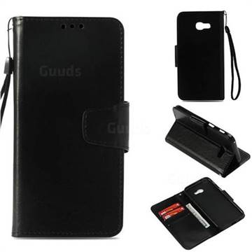 Retro Phantom Smooth PU Leather Wallet Holster Case for Samsung Galaxy A3 2017 A320 - Black