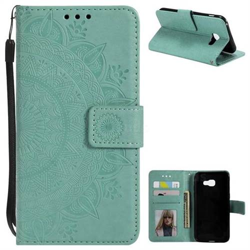 Intricate Embossing Datura Leather Wallet Case for Samsung Galaxy A3 2017 A320 - Mint Green