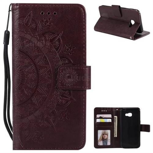 Intricate Embossing Datura Leather Wallet Case for Samsung Galaxy A3 2017 A320 - Brown