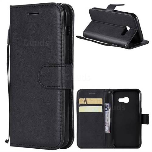 Retro Greek Classic Smooth PU Leather Wallet Phone Case for Samsung Galaxy A3 2017 A320 - Black