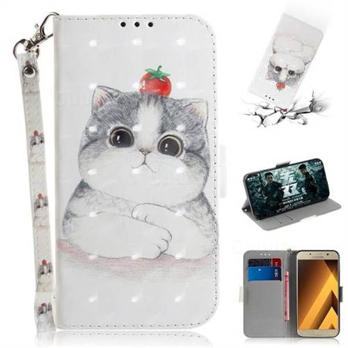 Cute Tomato Cat 3D Painted Leather Wallet Phone Case for Samsung Galaxy A3 2017 A320