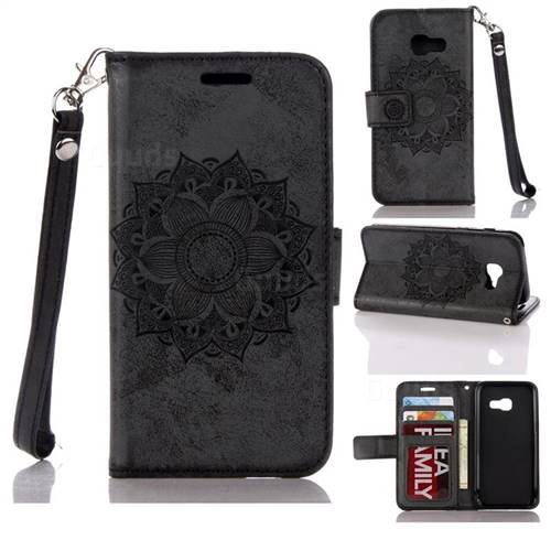 Embossing Retro Matte Mandala Flower Leather Wallet Case for Samsung Galaxy A3 2017 A320 - Black