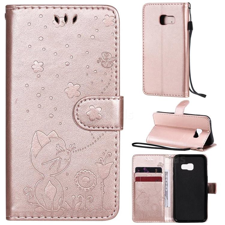 Embossing Bee and Cat Leather Wallet Case for Samsung Galaxy A3 2017 A320 - Rose Gold