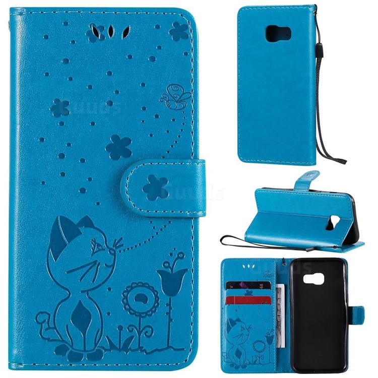 Embossing Bee and Cat Leather Wallet Case for Samsung Galaxy A3 2017 A320 - Blue