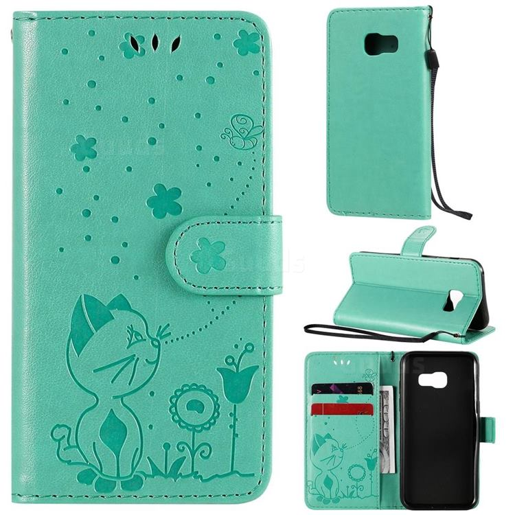 Embossing Bee and Cat Leather Wallet Case for Samsung Galaxy A3 2017 A320 - Green