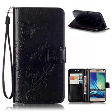 Embossing Butterfly Flower Leather Wallet Case for Samsung Galaxy A5 A500 - Black