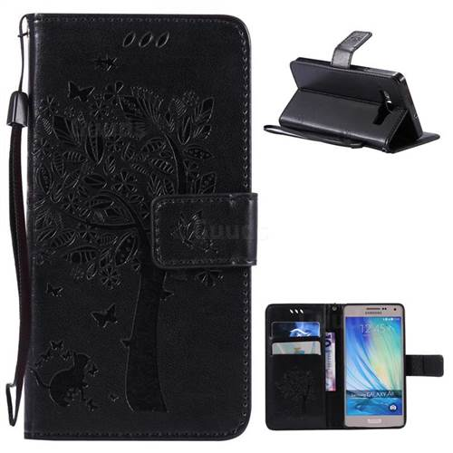 Embossing Butterfly Tree Leather Wallet Case for Samsung Galaxy A5 A500 - Black