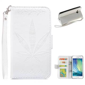 Intricate Embossing Maple Leather Wallet Case for Samsung Galaxy A5 2015 A500 - White