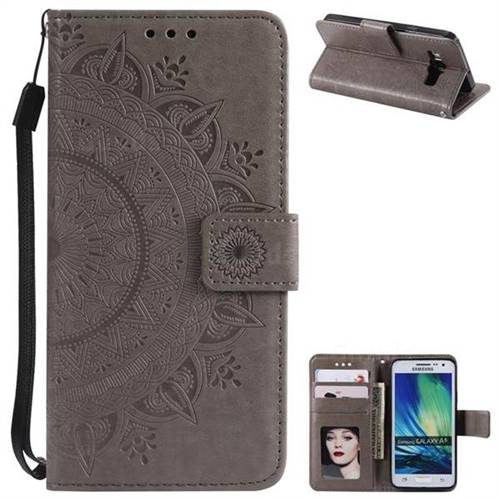 Intricate Embossing Datura Leather Wallet Case for Samsung Galaxy A5 2015 A500 - Gray