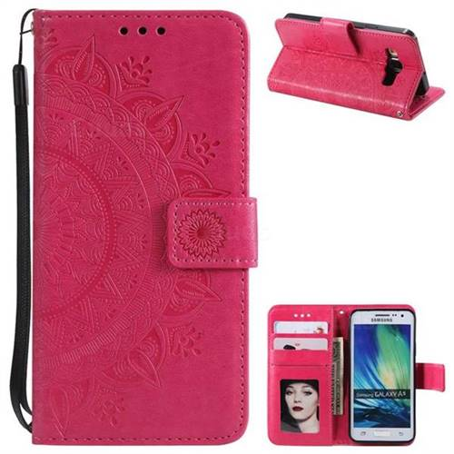 Intricate Embossing Datura Leather Wallet Case for Samsung Galaxy A5 2015 A500 - Rose Red