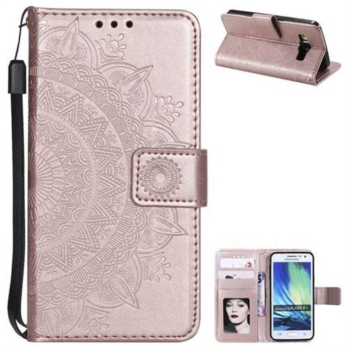 Intricate Embossing Datura Leather Wallet Case for Samsung Galaxy A5 2015 A500 - Rose Gold