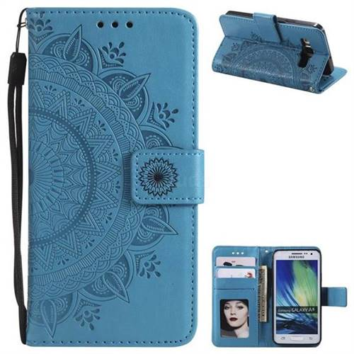 Intricate Embossing Datura Leather Wallet Case for Samsung Galaxy A5 2015 A500 - Blue