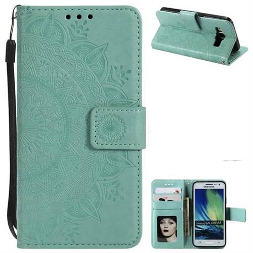 Intricate Embossing Datura Leather Wallet Case for Samsung Galaxy A5 2015 A500 - Mint Green
