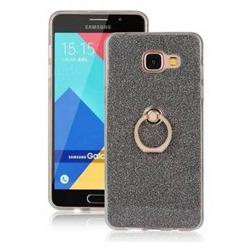 Luxury Soft TPU Glitter Back Ring Cover with 360 Rotate Finger Holder Buckle for Samsung Galaxy A5 2016 A510 - Black