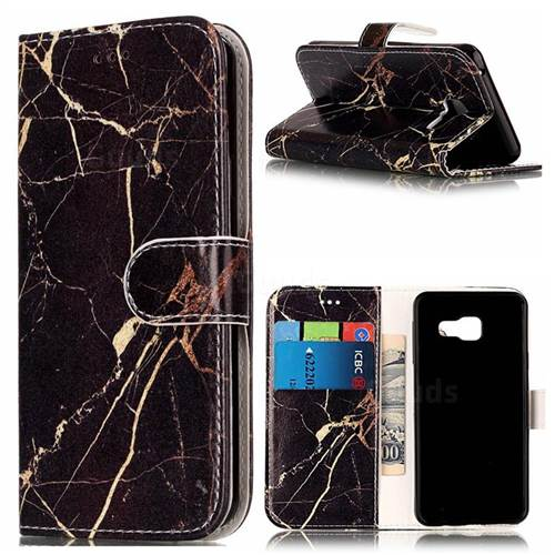 Black Gold Marble PU Leather Wallet Case for Samsung Galaxy A5 2016 A510