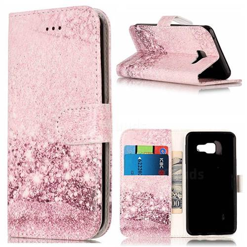 Glittering Rose Gold PU Leather Wallet Case for Samsung Galaxy A5 2016 A510
