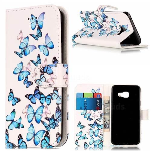 Blue Vivid Butterflies PU Leather Wallet Case for Samsung Galaxy A5 2016 A510
