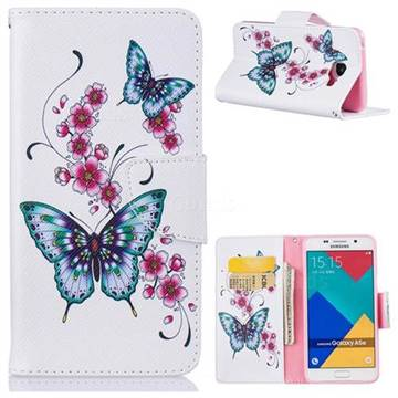Peach Butterfly Leather Wallet Case for Samsung Galaxy A5 2016 A510