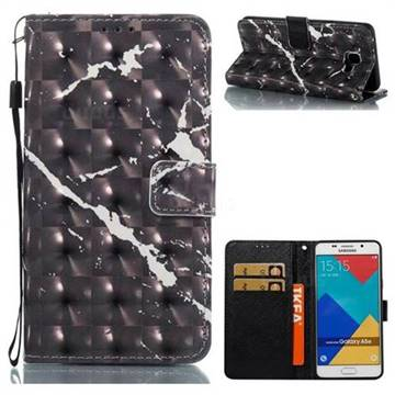 Black Marble 3D Painted Leather Wallet Case for Samsung Galaxy A5 2016 A510