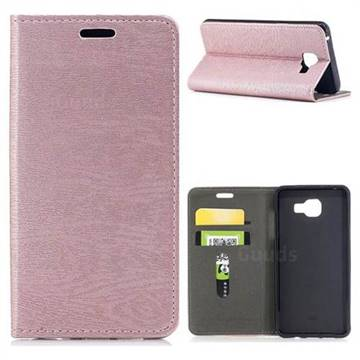 Tree Bark Pattern Automatic suction Leather Wallet Case for Samsung Galaxy A5 2016 A510 - Rose Gold