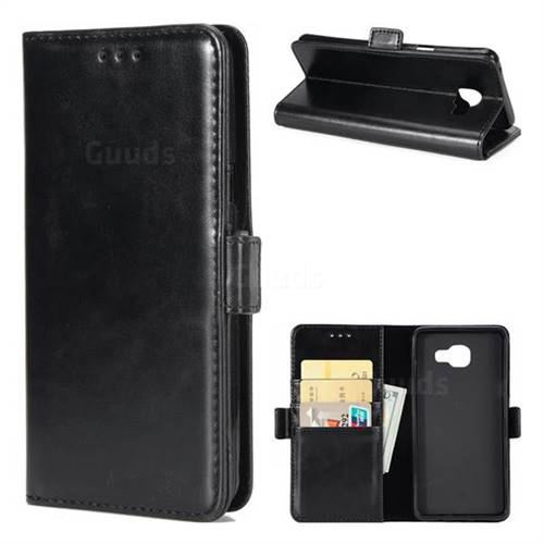 Luxury Crazy Horse PU Leather Wallet Case for Samsung Galaxy A5 2016 A510 - Black