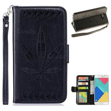 Intricate Embossing Maple Leather Wallet Case for Samsung Galaxy A5 2016 A510 - Black