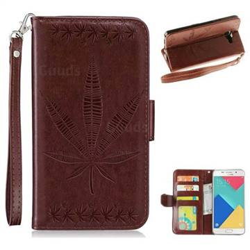 Intricate Embossing Maple Leather Wallet Case for Samsung Galaxy A5 2016 A510 - Brown