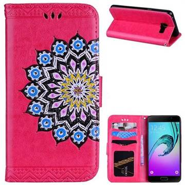 Datura Flowers Flash Powder Leather Wallet Holster Case for Samsung Galaxy A5 2016 A510 - Rose