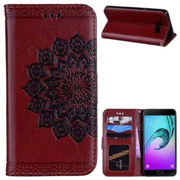 Datura Flowers Flash Powder Leather Wallet Holster Case for Samsung Galaxy A5 2016 A510 - Brown