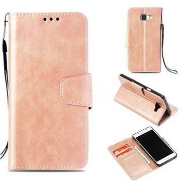 Retro Phantom Smooth PU Leather Wallet Holster Case for Samsung Galaxy A5 2016 A510 - Rose Gold