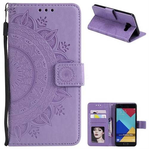 Intricate Embossing Datura Leather Wallet Case for Samsung Galaxy A5 2016 A510 - Purple